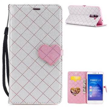 Symphony Checkered Dual Color PU Heart Leather Wallet Case for Huawei Honor 6X Mate9 Lite - Gray