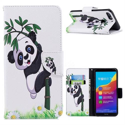 Bamboo Panda Leather Wallet Case for Huawei Honor 7C