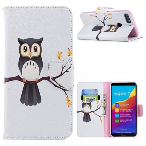 Owl on Tree Leather Wallet Case for Huawei Honor 7C