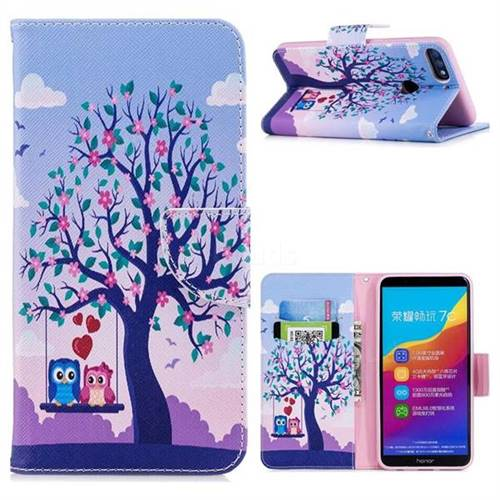 Tree and Owls Leather Wallet Case for Huawei Honor 7C