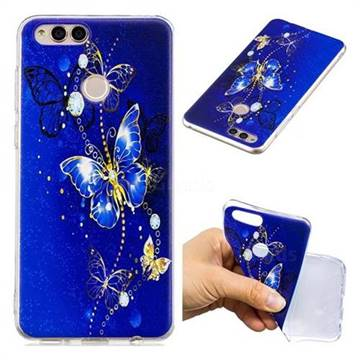 Gold and Blue Butterfly Super Clear Soft TPU Back Cover for Huawei Honor 7X
