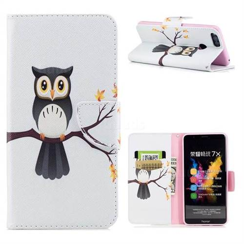 Owl on Tree Leather Wallet Case for Huawei Honor 7X