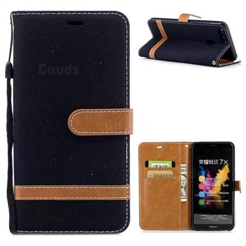 Jeans Cowboy Denim Leather Wallet Case for Huawei Honor 7X - Black