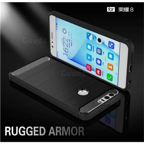 Luxury Carbon Fiber Brushed Wire Drawing Silicone TPU Back Cover for Huawei Honor 8 (Black)