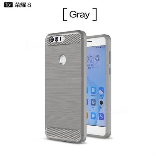 Luxury Carbon Fiber Brushed Wire Drawing Silicone TPU Back Cover for Huawei Honor 8 (Gray)