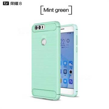 Luxury Carbon Fiber Brushed Wire Drawing Silicone TPU Back Cover for Huawei Honor 8 (Mint Green)