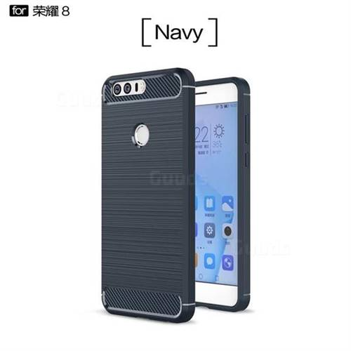 Luxury Carbon Fiber Brushed Wire Drawing Silicone TPU Back Cover for Huawei Honor 8 (Navy)