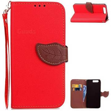 Leaf Buckle Litchi Leather Wallet Phone Case for Huawei Honor 9 - Red