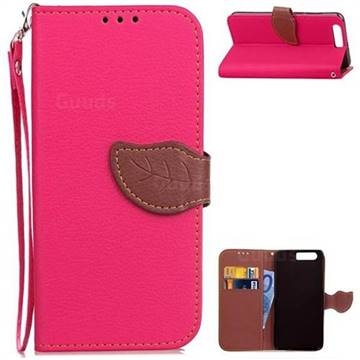 Leaf Buckle Litchi Leather Wallet Phone Case for Huawei Honor 9 - Rose