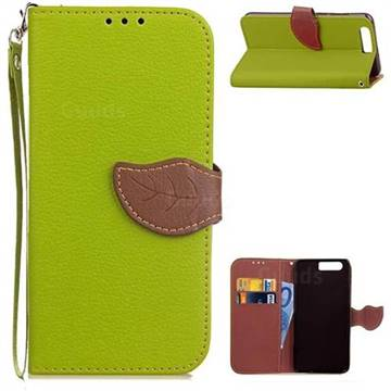 Leaf Buckle Litchi Leather Wallet Phone Case for Huawei Honor 9 - Green