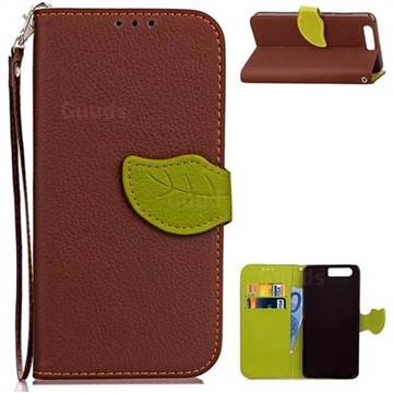Leaf Buckle Litchi Leather Wallet Phone Case for Huawei Honor 9 - Brown