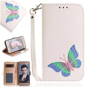 Imprint Embossing Butterfly Leather Wallet Case for Huawei Honor 9 - White
