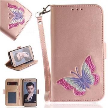 Imprint Embossing Butterfly Leather Wallet Case for Huawei Honor 9 - Rose Gold