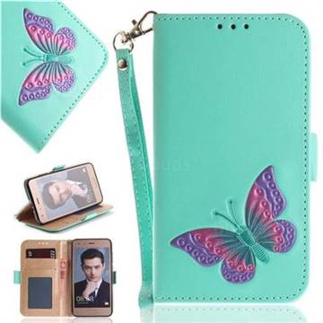 Imprint Embossing Butterfly Leather Wallet Case for Huawei Honor 9 - Mint Green
