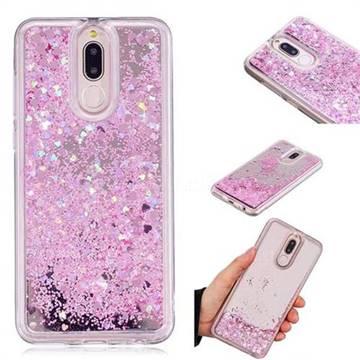 Glitter Sand Mirror Quicksand Dynamic Liquid Star TPU Case for Huawei Mate 10 Lite / Nova 2i / Horor 9i / G10 - Cherry Pink