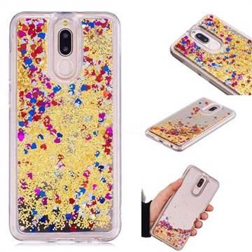Glitter Sand Mirror Quicksand Dynamic Liquid Star TPU Case for Huawei Mate 10 Lite / Nova 2i / Horor 9i / G10 - Yellow