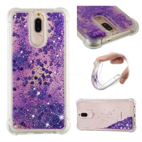 Dynamic Liquid Glitter Sand Quicksand Star TPU Case for Huawei Mate 10 Lite / Nova 2i / Horor 9i / G10 - Purple