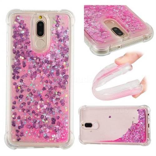 Dynamic Liquid Glitter Sand Quicksand TPU Case for Huawei Mate 10 Lite / Nova 2i / Horor 9i / G10 - Pink Love Heart