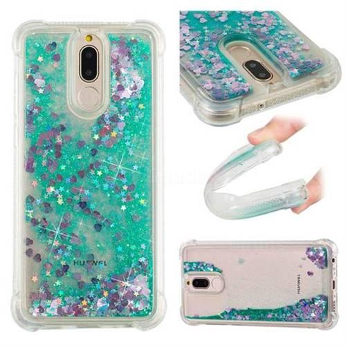 Dynamic Liquid Glitter Sand Quicksand TPU Case for Huawei Mate 10 Lite / Nova 2i / Horor 9i / G10 - Green Love Heart