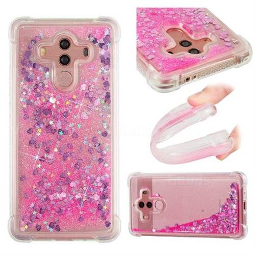 Dynamic Liquid Glitter Sand Quicksand TPU Case for Huawei Mate 10 Pro(6.0 inch) - Pink Love Heart