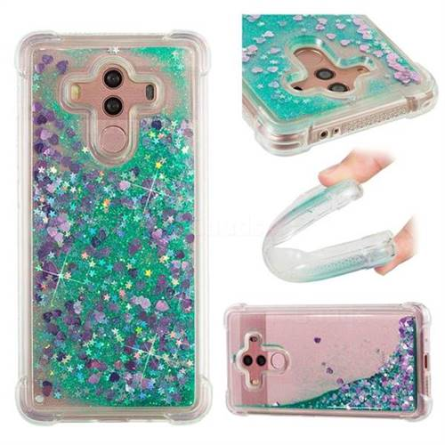 Dynamic Liquid Glitter Sand Quicksand TPU Case for Huawei Mate 10 Pro(6.0 inch) - Green Love Heart