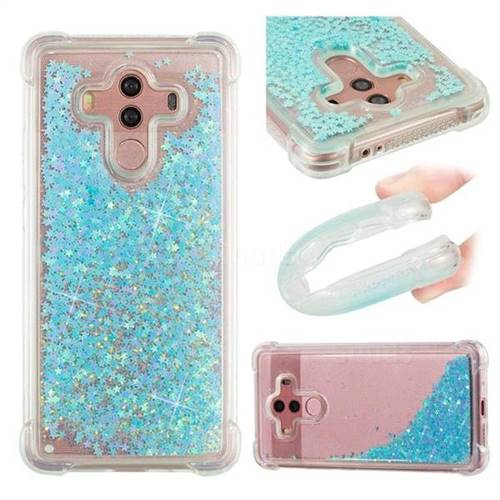 Dynamic Liquid Glitter Sand Quicksand TPU Case for Huawei Mate 10 Pro(6.0 inch) - Silver Blue Star