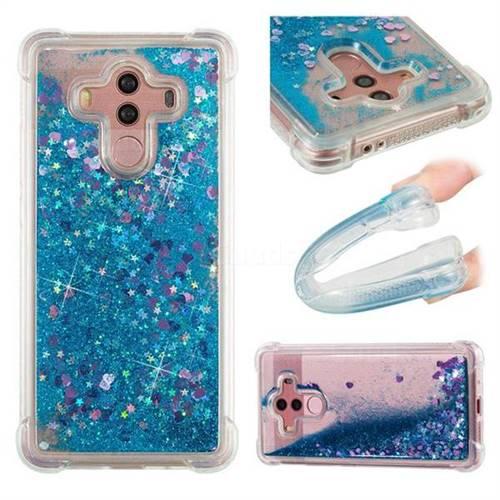 Dynamic Liquid Glitter Sand Quicksand TPU Case for Huawei Mate 10 Pro(6.0 inch) - Blue Love Heart