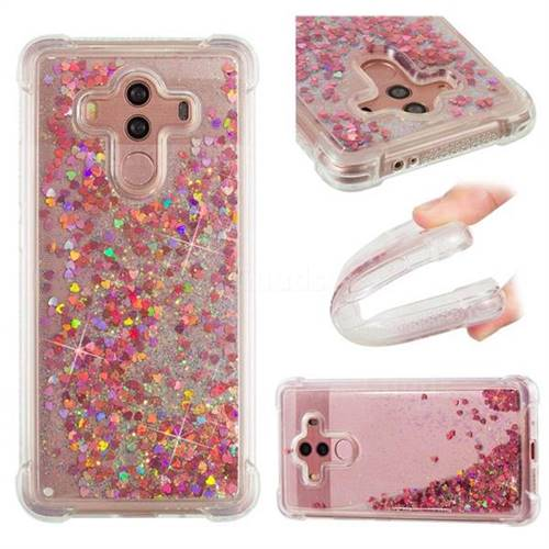 Dynamic Liquid Glitter Sand Quicksand TPU Case for Huawei Mate 10 Pro(6.0 inch) - Rose Gold Love Heart