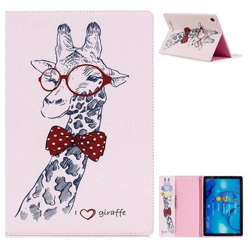 Glasses Giraffe Folio Stand Leather Wallet Case for Huawei MediaPad M5 10 / M5 10 inch (Pro)