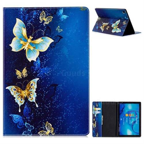 Golden Butterflies Folio Stand Leather Wallet Case for Huawei MediaPad M5 10 / M5 10 inch (Pro)