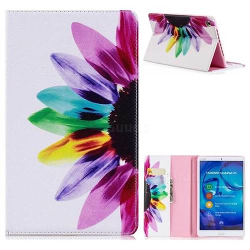 Seven-color Flowers Folio Stand Leather Wallet Case for Huawei MediaPad M5 8 inch
