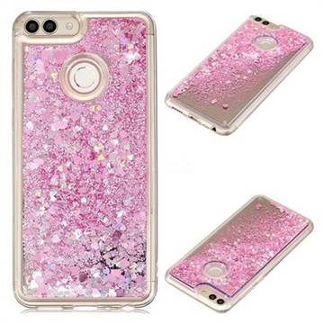 Glitter Sand Mirror Quicksand Dynamic Liquid Star TPU Case for Huawei P Smart(Enjoy 7S) - Cherry Pink