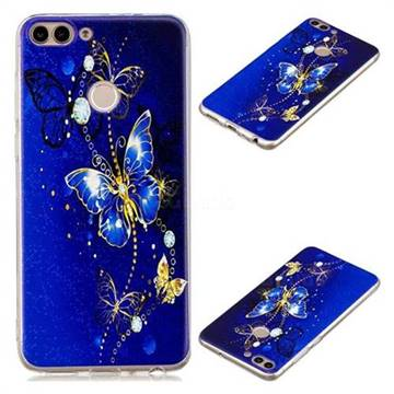 Gold and Blue Butterfly Super Clear Soft TPU Back Cover for Huawei P Smart(Enjoy 7S)