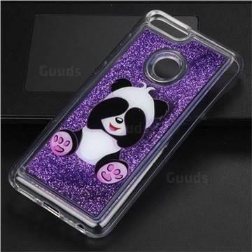 Naughty Panda Glassy Glitter Quicksand Dynamic Liquid Soft Phone Case for Huawei P Smart(Enjoy 7S)