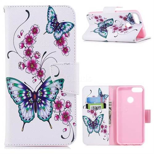 Peach Butterfly Leather Wallet Case for Huawei P Smart(Enjoy 7S)