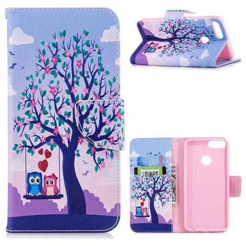 Tree and Owls Leather Wallet Case for Huawei P Smart(Enjoy 7S)