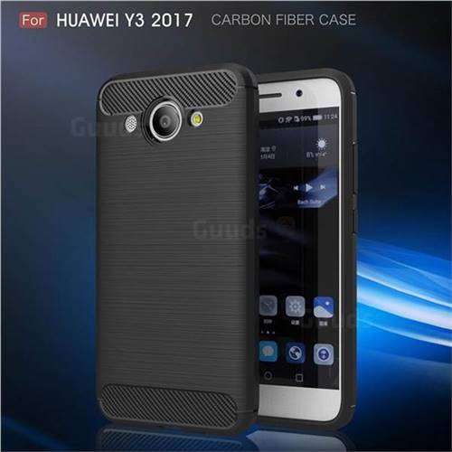 Luxury Carbon Fiber Brushed Wire Drawing Silicone TPU Back Cover for Huawei Y3 (2017) (Black)