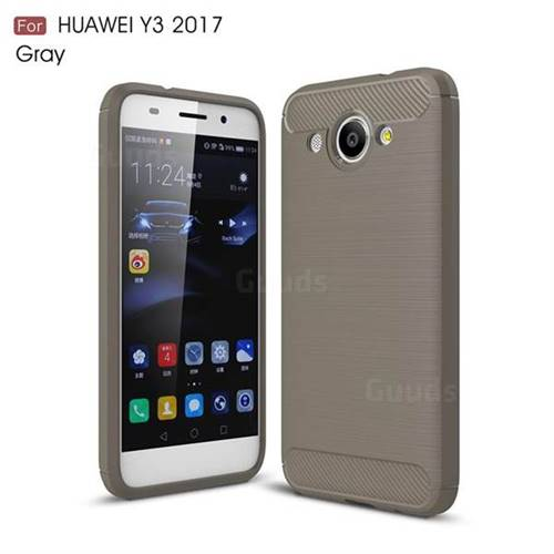 Luxury Carbon Fiber Brushed Wire Drawing Silicone TPU Back Cover for Huawei Y3 (2017) (Gray)