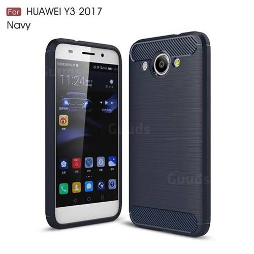Luxury Carbon Fiber Brushed Wire Drawing Silicone TPU Back Cover for Huawei Y3 (2017) (Navy)