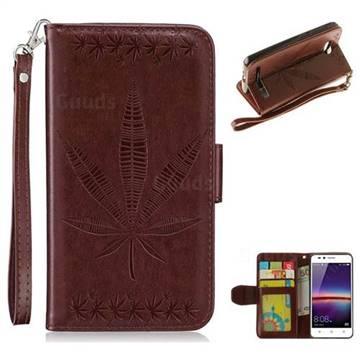 Intricate Embossing Maple Leather Wallet Case for Huawei Y3II Y3 2 Honor Bee 2 - Brown