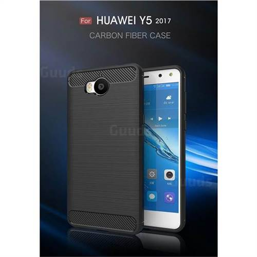 Luxury Carbon Fiber Brushed Wire Drawing Silicone TPU Back Cover for Huawei Y5 (2017) (Black)