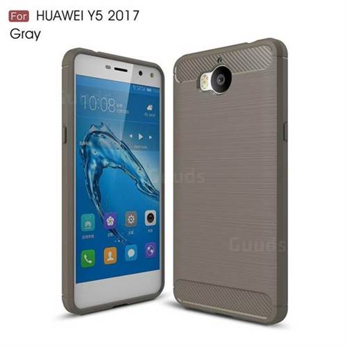 Luxury Carbon Fiber Brushed Wire Drawing Silicone TPU Back Cover for Huawei Y5 (2017) (Gray)