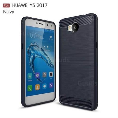 Luxury Carbon Fiber Brushed Wire Drawing Silicone TPU Back Cover for Huawei Y5 (2017) (Navy)