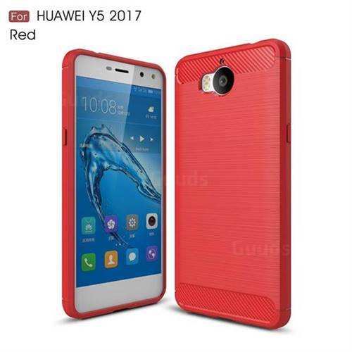 Luxury Carbon Fiber Brushed Wire Drawing Silicone TPU Back Cover for Huawei Y5 (2017) (Red)