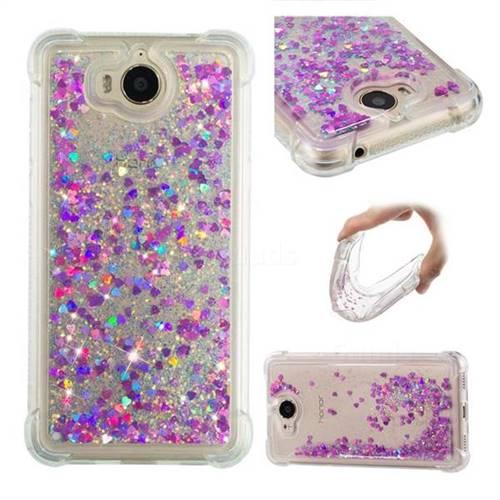 Dynamic Liquid Glitter Sand Quicksand Star TPU Case for Huawei Y5 (2017) - Rose