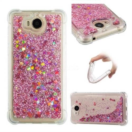 Dynamic Liquid Glitter Sand Quicksand Star TPU Case for Huawei Y5 (2017) - Diamond Rose