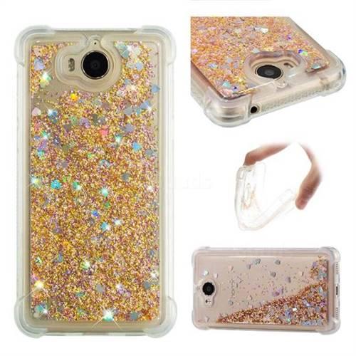 Dynamic Liquid Glitter Sand Quicksand Star TPU Case for Huawei Y5 (2017) - Diamond Gold