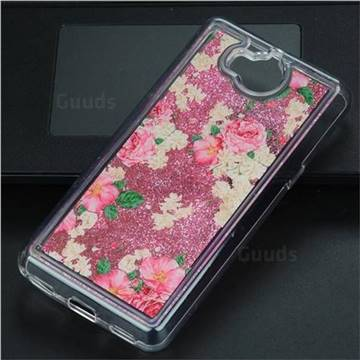 Rose Flower Glassy Glitter Quicksand Dynamic Liquid Soft Phone Case for Huawei Y5 (2017)