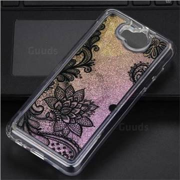 Diagonal Lace Glassy Glitter Quicksand Dynamic Liquid Soft Phone Case for Huawei Y5 (2017)