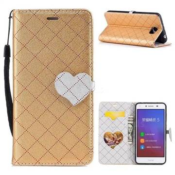Symphony Checkered Dual Color PU Heart Leather Wallet Case for Huawei Y5II Y5 2 Honor5 Honor Play 5 - Golden